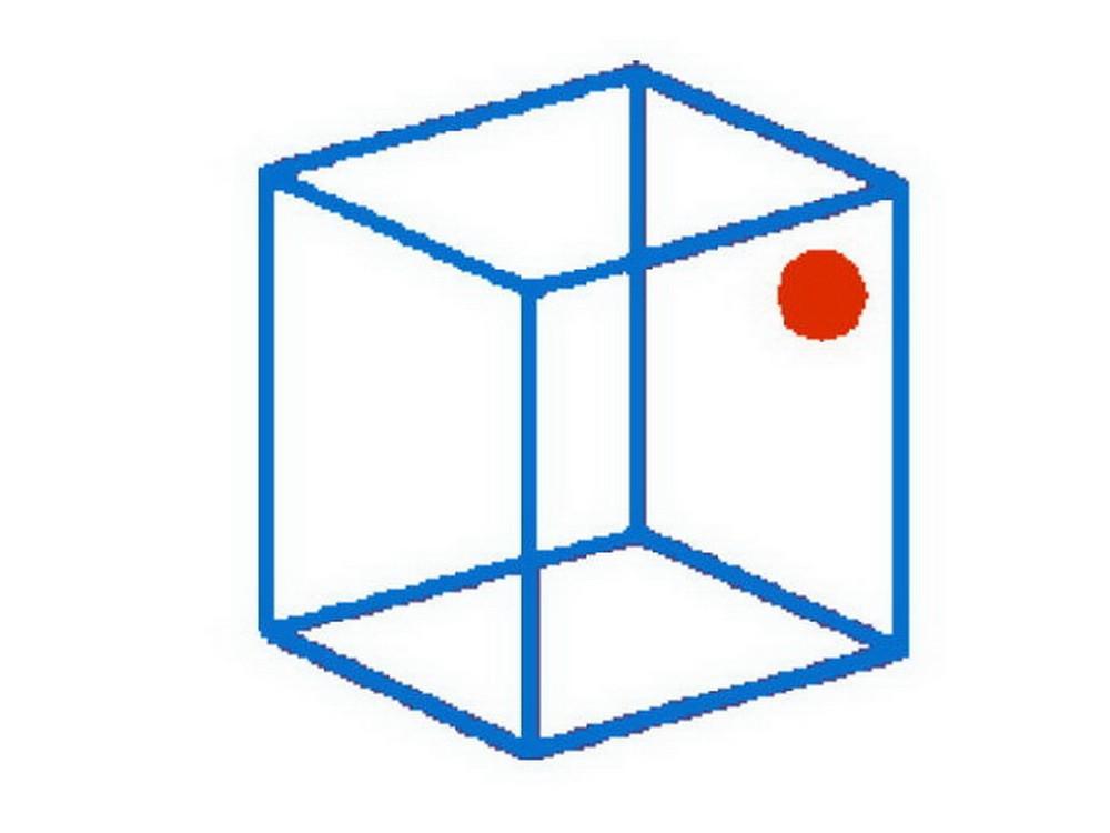 באיזה דופן של הקוביה נמצאת הנקודה האדומה?